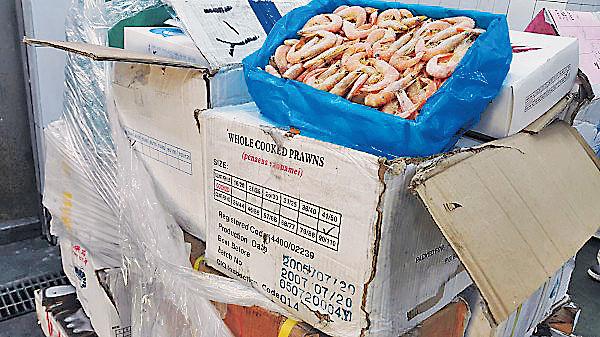 台查獲50噸過期海鮮 殭屍蝦凍11年