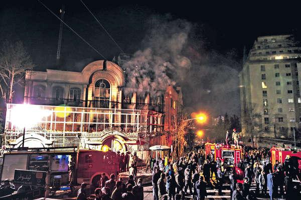 伊朗示威燒沙特使館