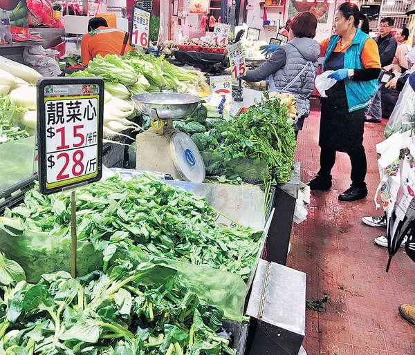領展街市買餸貴 菜芯每斤$30