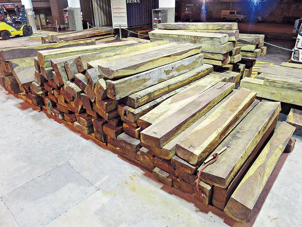 海關檢千萬元瀕危木材