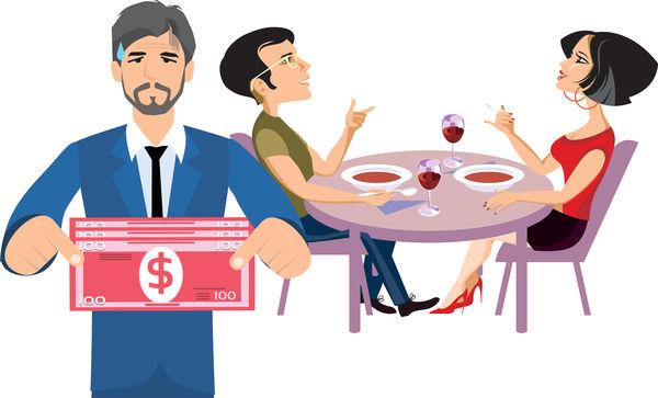 港男為慳錢 與女友食飯搵老竇找數