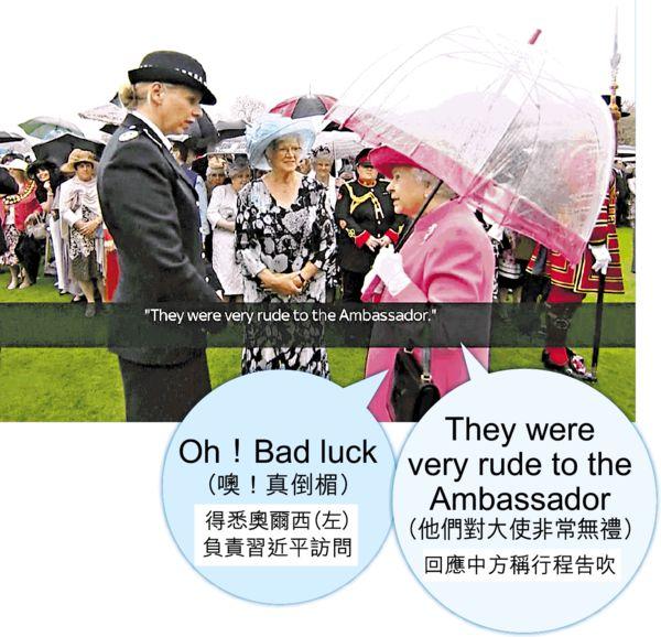 批中方無禮 英女皇不經意洩密
