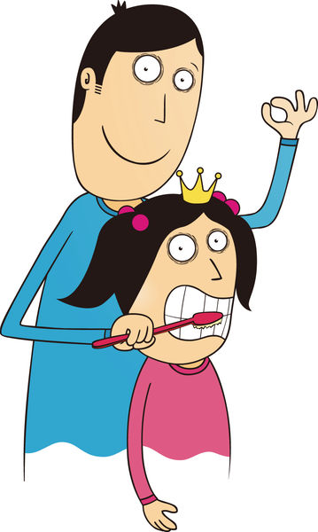 港爸幫5歲女刷牙 港媽憂縱壞