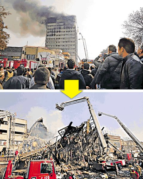 伊朗舊樓大火倒塌 30消防殉職