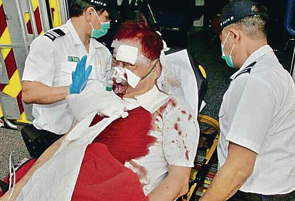 旺角街頭遇襲 男子變血人