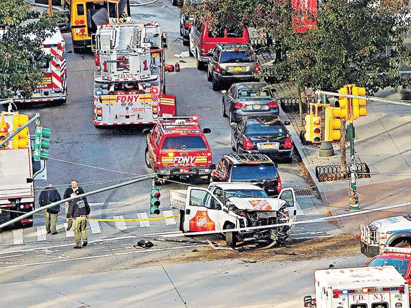 紐約恐襲 貨車剷單車徑8死15傷