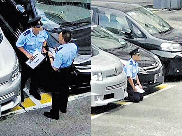 軍裝警停車場跪地 疑涉補水問題