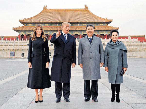 特朗普抵京國事訪問 與習近平故宮夜宴