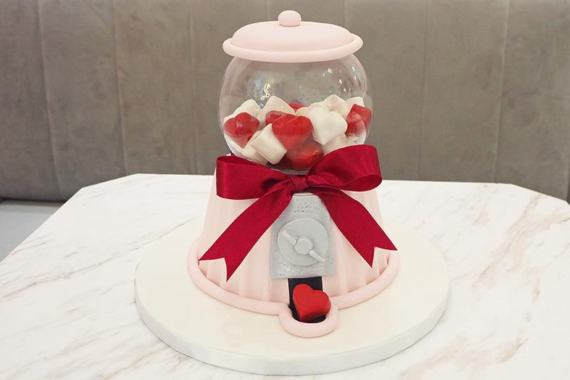 情人節限定 夢幻粉色扭蛋機蛋糕