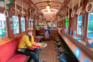 【京都Cafe 2019】日本京都百年歷史懷舊復古風電車Cafe 可愛扶手吊環冬甩/牛奶軟雪糕