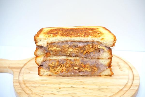 【三文治食譜】4步炮製人氣網紅早餐 爆餡芋泥肉鬆三文治