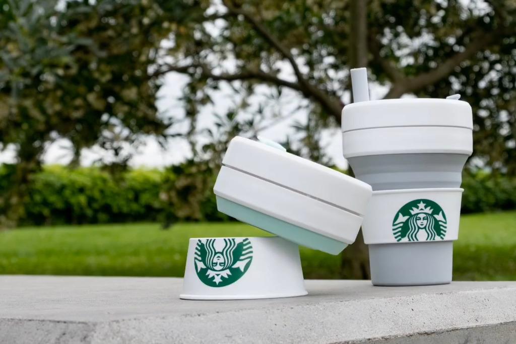 【Starbucks杯】Starbucks聯乘環保杯品牌Stojo推出折疊杯 湖水綠色摺疊杯配Starbucks美人魚杯套