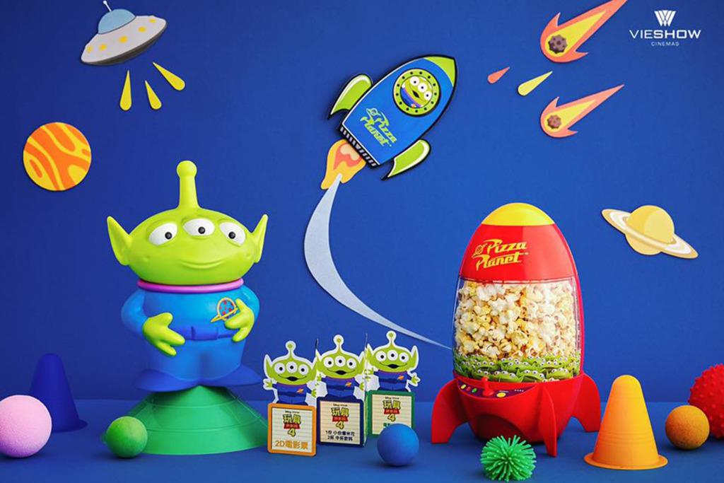 【Toy Story 4/反斗奇兵4】台灣戲院反斗奇兵電影周邊商品 Toy Story三眼仔火箭爆谷筒+三眼仔汽水杯