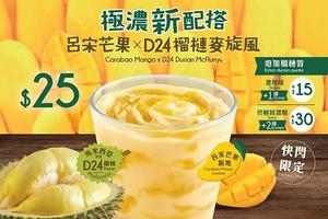 【麥當勞新品】麥當勞新出甜品呂宋芒果X D24榴槤麥旋風快閃登場  一次過試兩款口味