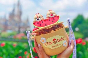 【上海迪士尼必買】上海迪士尼夏日期間限定 奇奇蒂蒂Chip'n'Dale西瓜造型爆谷桶/汽水杯
