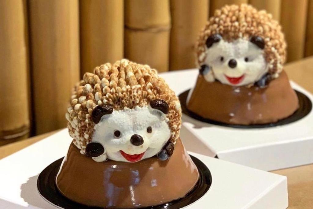【台灣美食2019】台灣可愛手工刺蝟造型甜品 流心朱古力榛子蛋糕