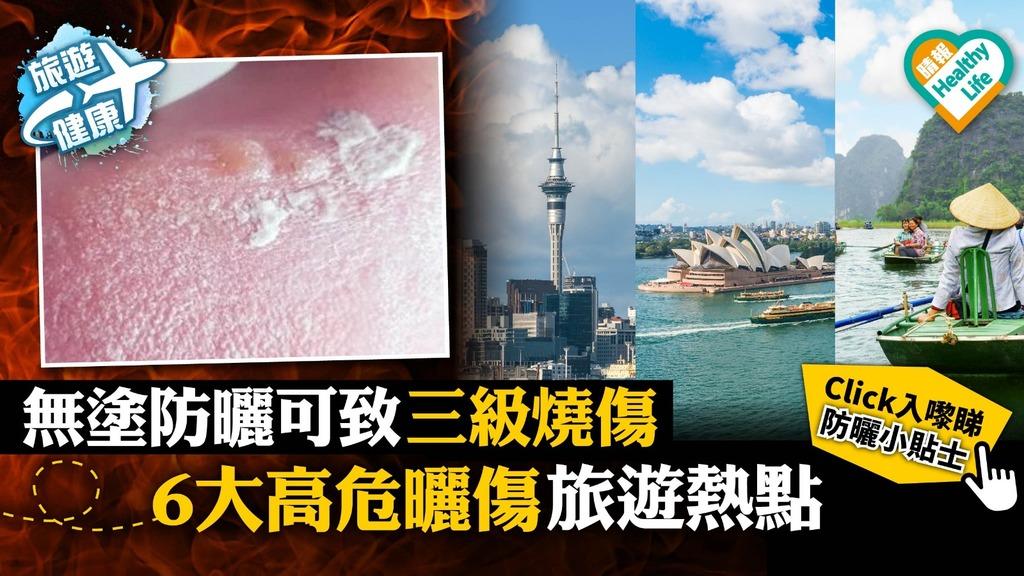 【旅遊健康】無塗防曬可致三級燒傷 6大高危曬傷旅遊熱點