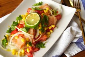 【減肥食譜】免開火懶人高蛋白料理  開胃涼拌酸醃三文魚食譜
