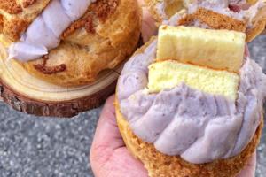 【台北 芋泥/台北甜品推介】台北足料爆餡芋泥泡芙 夾著一大塊芝士蛋糕!
