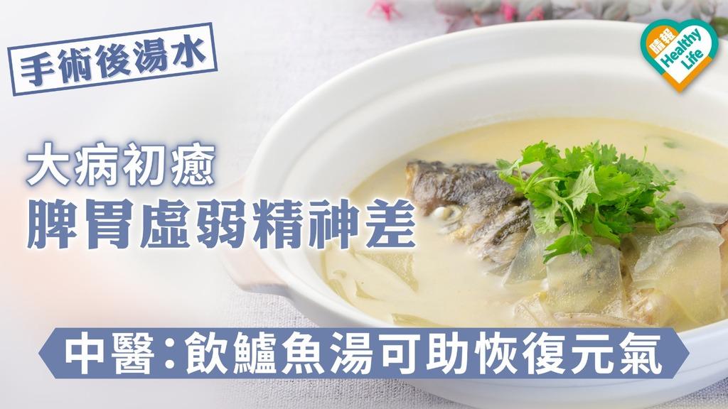 【手術後湯水】大病初癒脾胃虛弱精神差 中醫:飲鱸魚湯可助恢復元氣