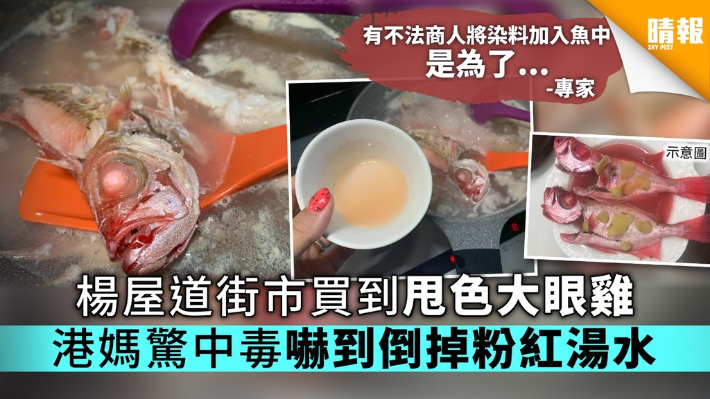 楊屋道街市買到甩色大眼雞 港媽驚中毒嚇到倒掉粉紅湯水