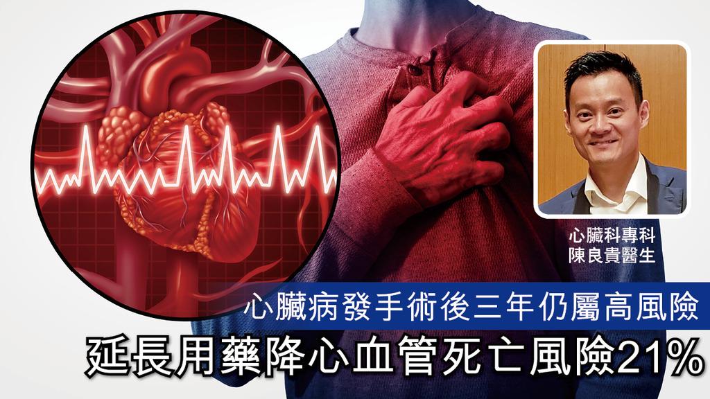 「心臟病發手術後三年仍屬高風險 延長用藥降心血管死亡風險21%」