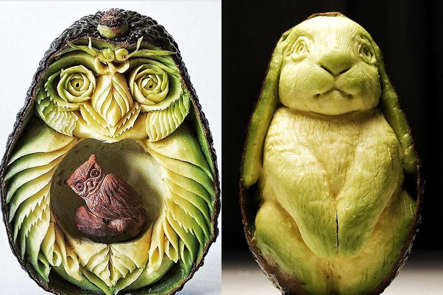 【牛油果雕刻】水果雕刻家把牛油果化身可愛兔子 西瓜/香蕉/雞蛋也不放過!