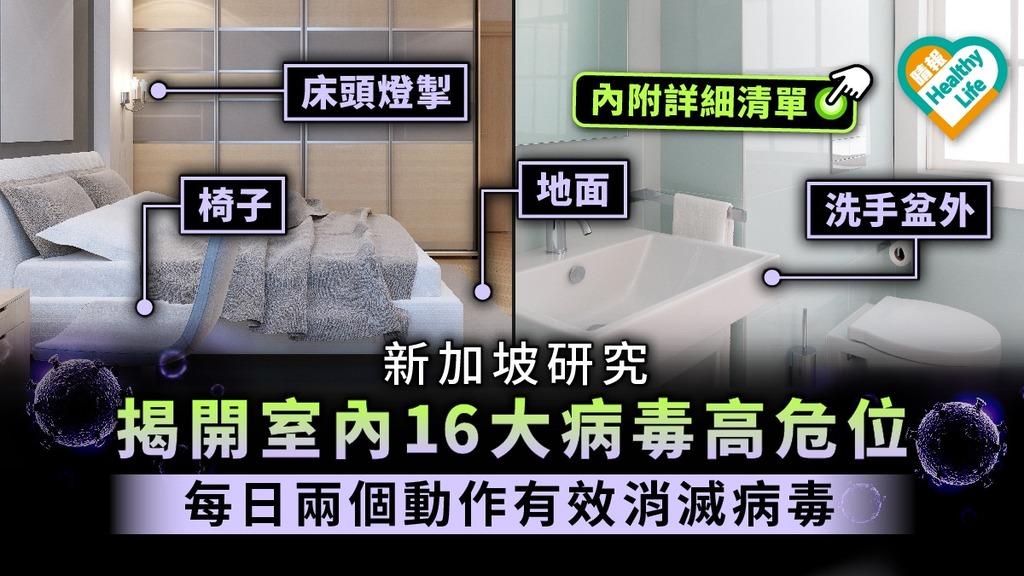 【家居防疫】新加坡研究揭開室內16大病毒高危位 每日兩個動作有效消滅病毒