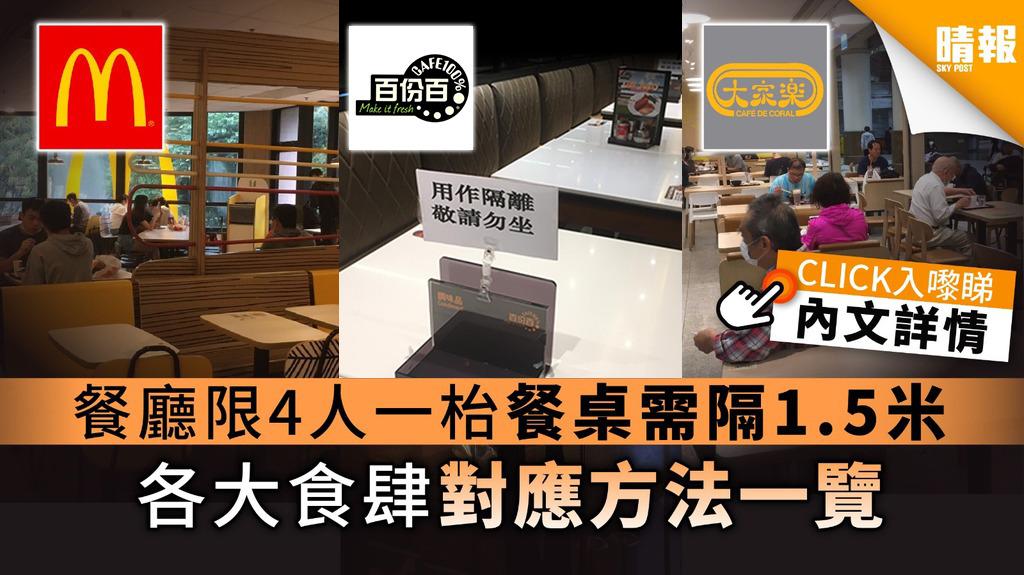 【餐廳管制】禁4人以上同枱餐桌需隔1.5米 各大食肆對應方法一覽