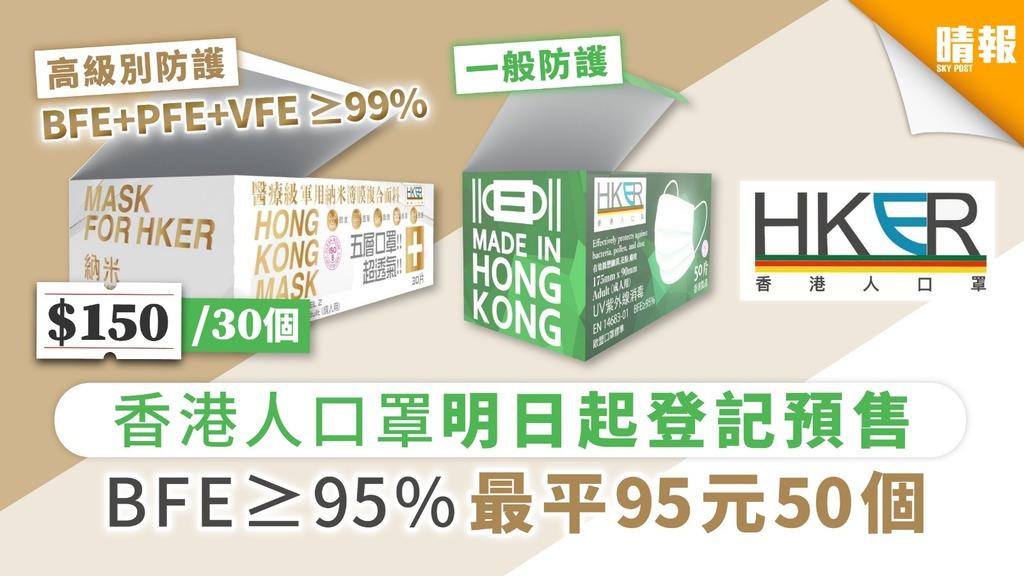 【買口罩】香港人口罩明日起登記預售 BFE≥95% 最平95元50個【內附4大預購重點及登記連結】