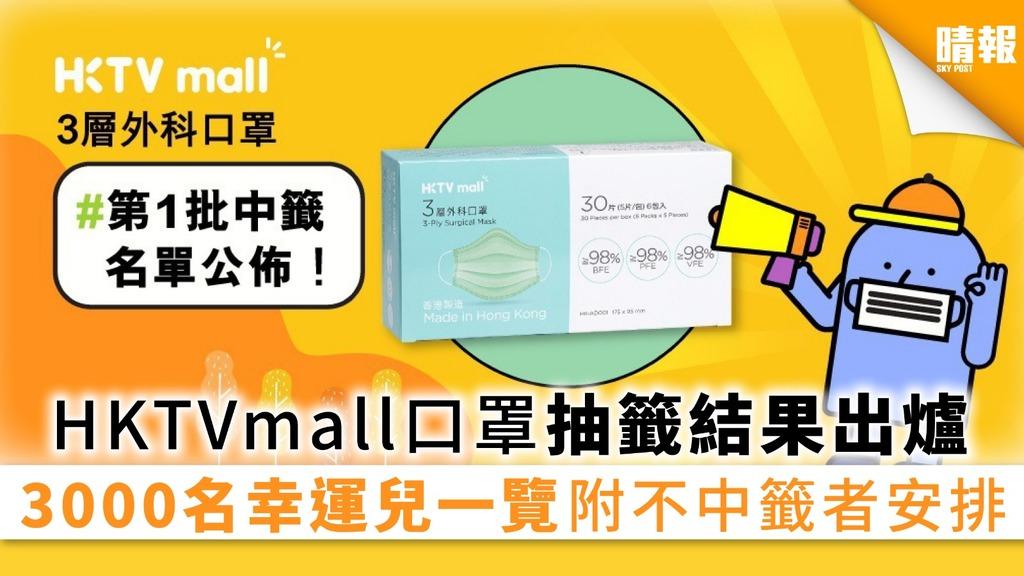 【買口罩】HKTVmall口罩首輪中籤名單出爐 3000名幸運兒一覽 附不中籤者安排