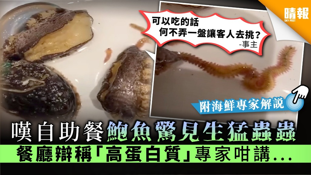 【食用安全】嘆自助餐鮑魚驚見生猛蟲蟲 餐廳辯稱「高蛋白質」專家咁講...【附處理鮑魚方法】