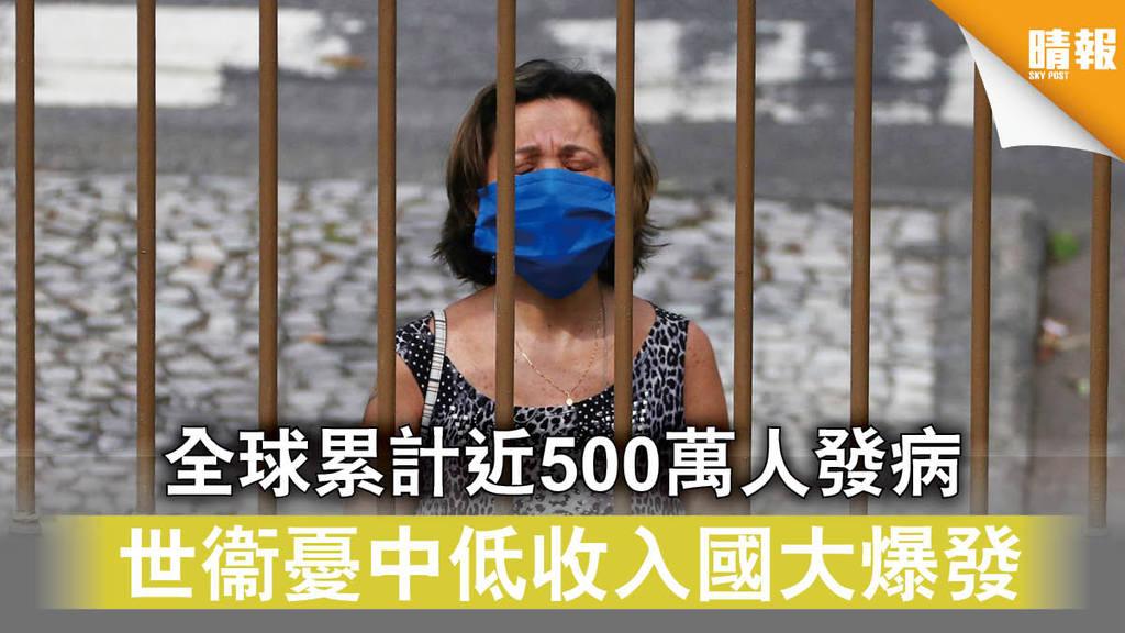 【新冠肺炎】 全球累計近500萬人發病 世衞憂中低收入國大爆發