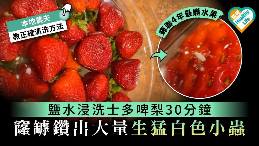 【最骯髒水果】鹽水浸洗士多啤梨30分鐘 鑽出大量生猛白色小蟲【附正確清洗方法】