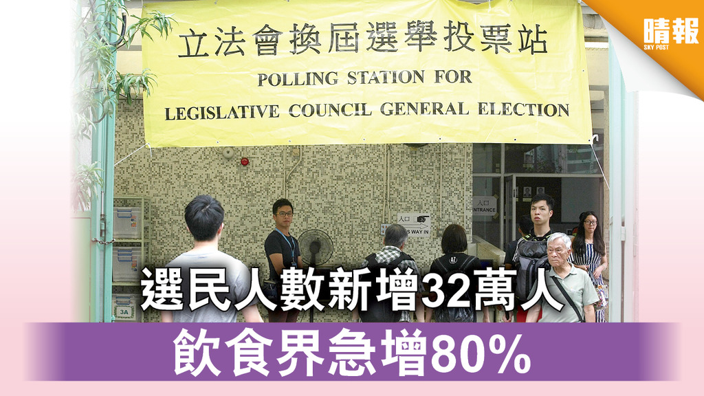 【選民登記】選民人數新增32萬人 飲食界急增80%