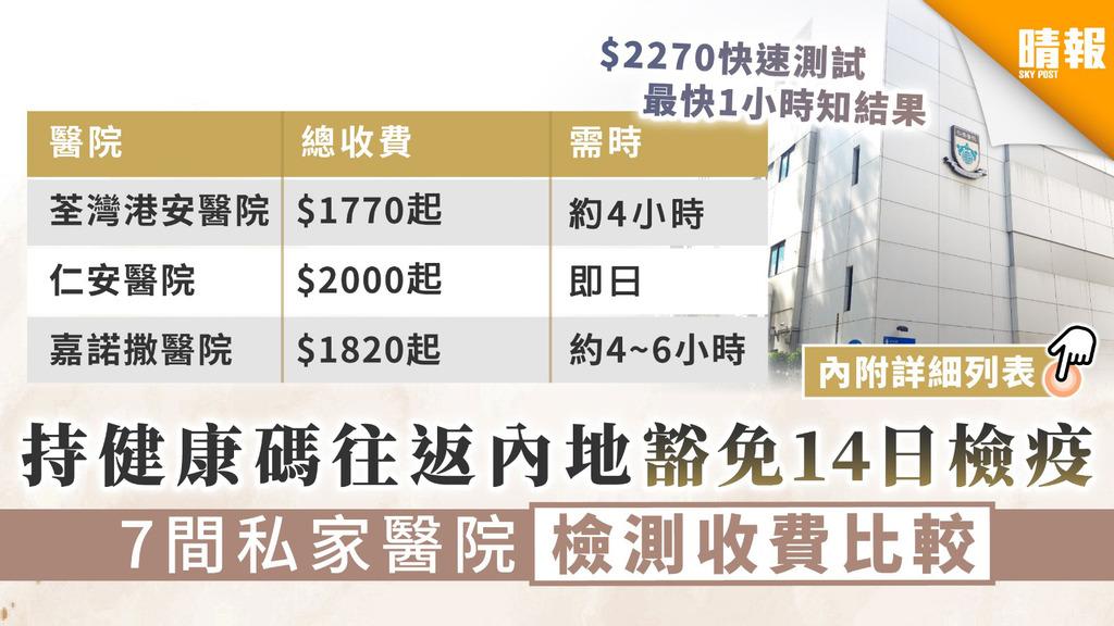 【港版健康碼】持健康碼往返內地豁免14日檢疫 7間私家醫院檢測收費比較