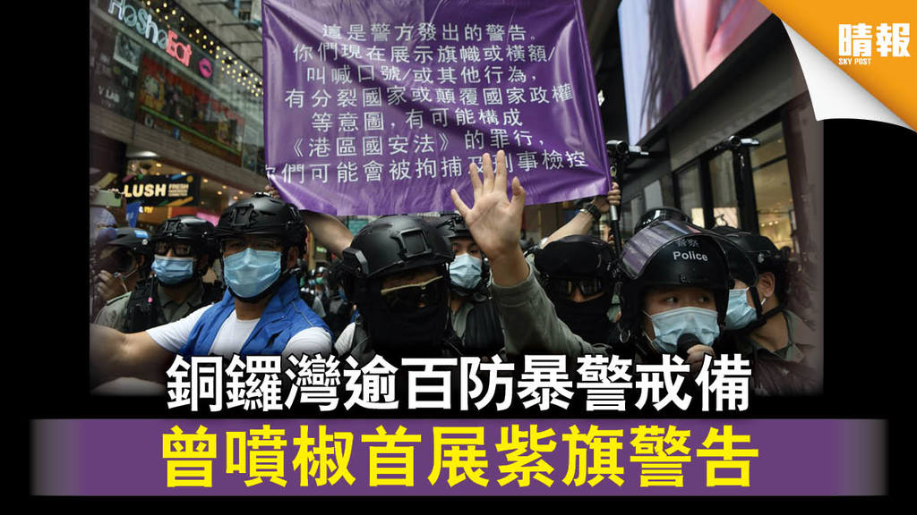 【七一遊行】銅鑼灣逾百防暴警戒備 曾噴椒首展紫旗警告