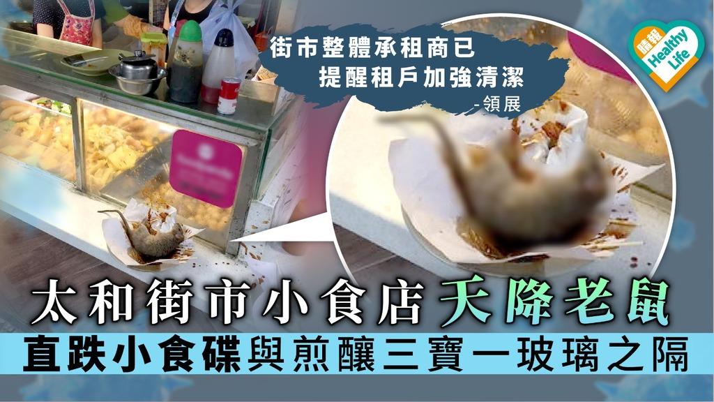 【食物安全】太和街市小食店天降老鼠 直跌小食碟與煎釀三寶一玻璃之隔