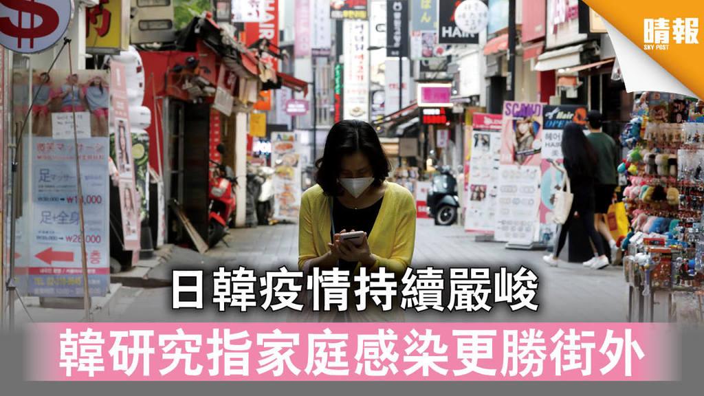 【新冠肺炎】日韓疫情持續嚴峻 韓研究指家庭感染更勝街外