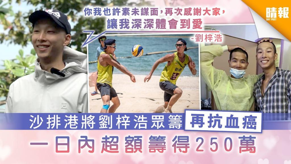 【抗癌勇士】沙排港將劉梓浩眾籌再抗血癌 一日內超額籌得250萬