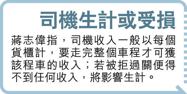 中港司機被拒入境 恐礙食品供應 每日料逾百人 居「疫區」唔畀過關