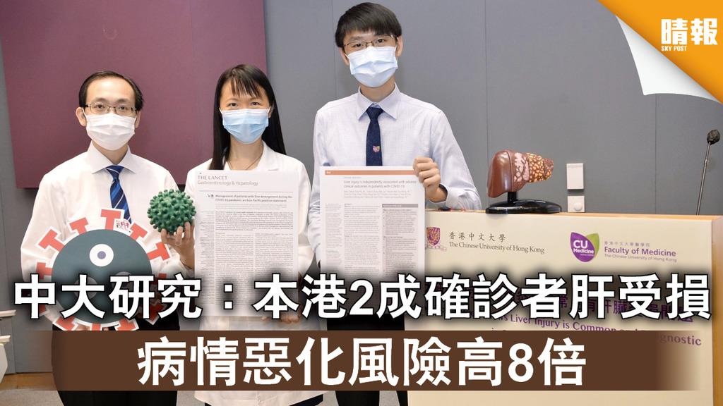 【新冠肺炎】中大研究:本港2成確診者肝受損 病情惡化風險高8倍