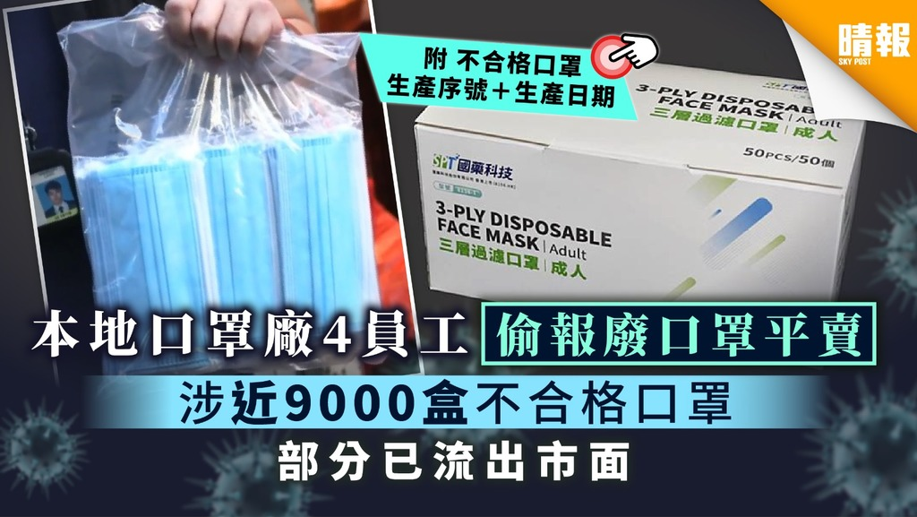 【國藥科技】本地口罩廠SPT Mask員工偷報廢口罩平賣 涉近9000盒不合格口罩 部分已流出市面【附生產序號+生產日期】