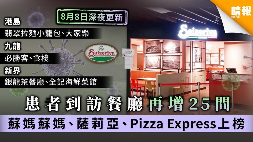【患者行蹤】患者到訪餐廳再增25間 蘇媽蘇媽、薩莉亞、Pizza Express上榜【8月8日深夜最新】
