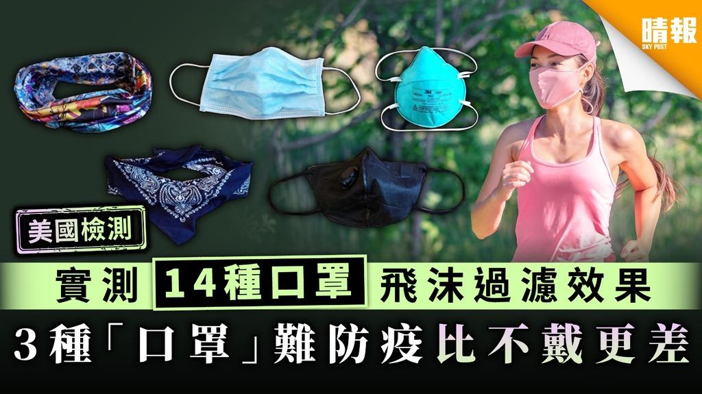 【口罩.美國檢測】實測14種口罩飛沫過濾效果 3種「口罩」難防疫比不戴更差