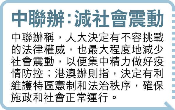 人大敲定 今屆立會任期延長1年 全體議員過渡 下屆維持4年