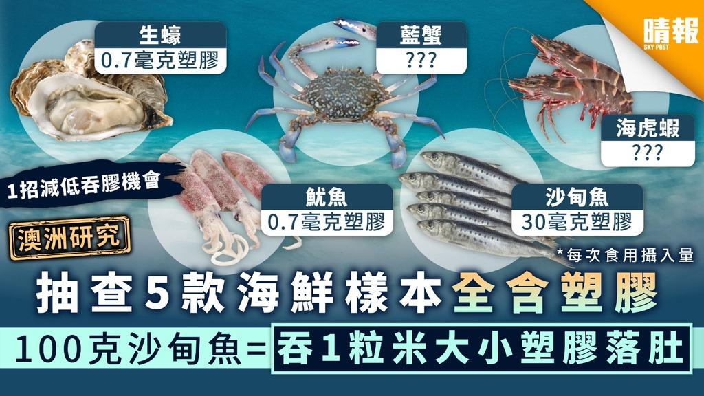 【微塑膠污染】澳洲研究抽查5款海鮮樣本全含塑膠 100克沙甸魚=吞1粒米大小塑膠落肚【1招減低吞膠機會】