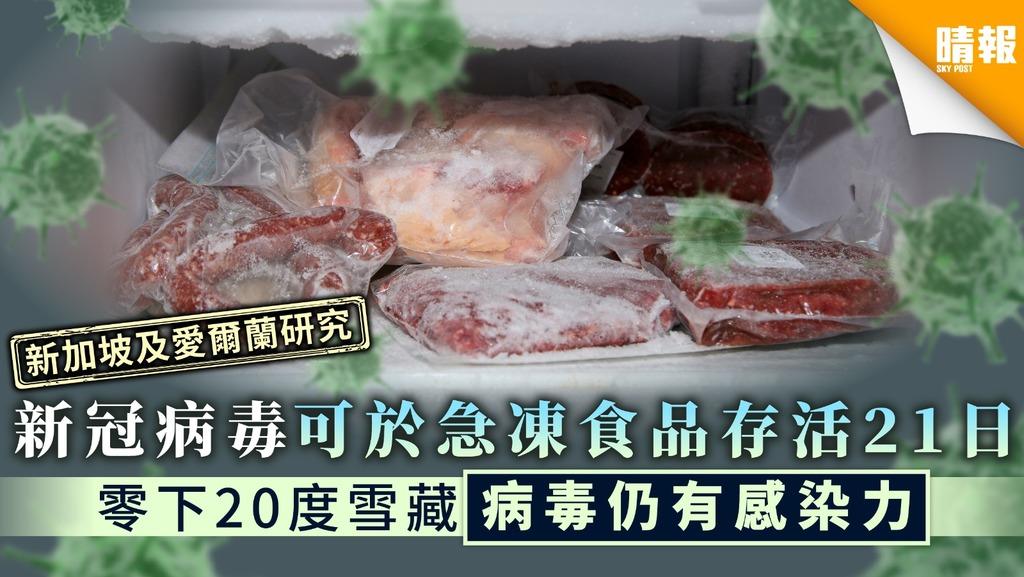【新冠肺炎.外國研究】新冠病毒可於急凍食品存活21日 零下20度雪藏後病毒仍有感染力