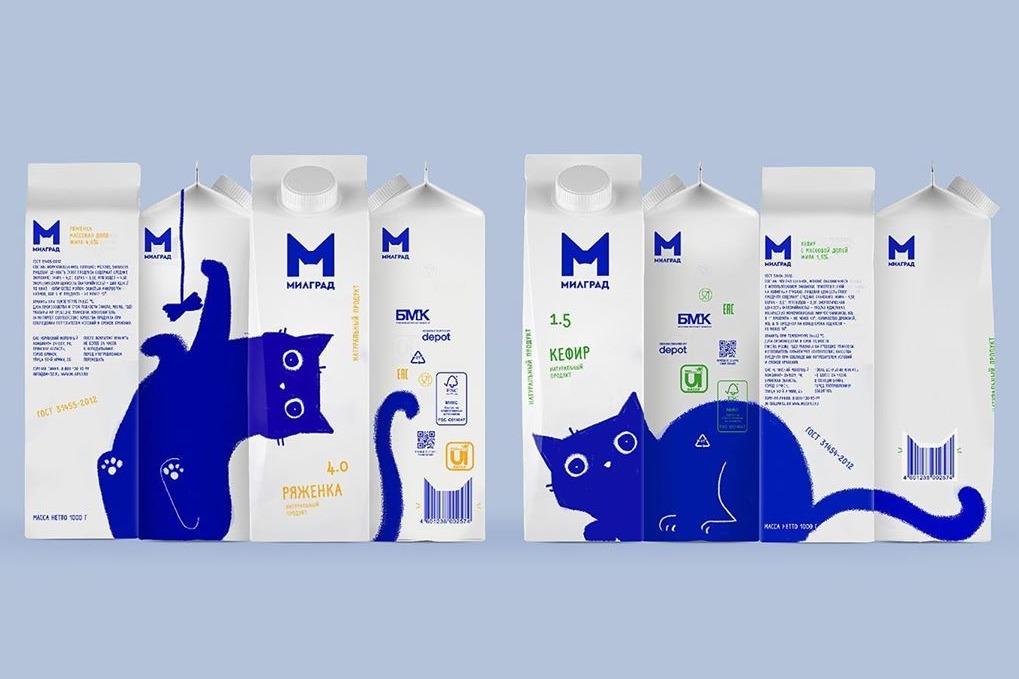 【俄羅斯藍貓】俄羅斯乳製品公司推出新包裝 合併幾盒牛奶會出現可愛藍色貓貓