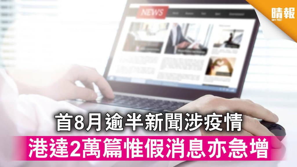 【新冠肺炎】首8月逾半新聞涉疫情 港達2萬篇惟假消息亦急增